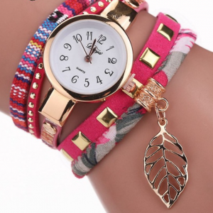 Pink Patterned Wrap Watch
