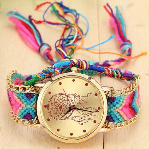 Multi colored woven dream catcher watch