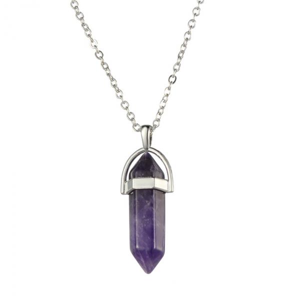 Grape Purple Stone Crystal Necklace