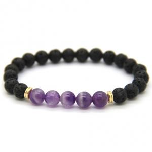 Lava Stone Grape Purple Stone Stretch Bracelet Save Gorillas. Conservation