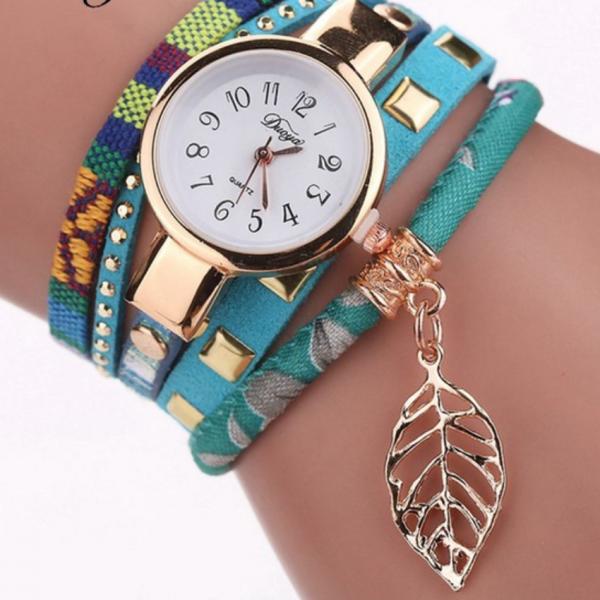 layered teal wrap watch
